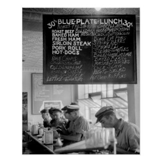 Trucker's Cafe, 1940. Vintage Photo Poster