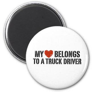 Trucker's Girl 2 Inch Round Magnet