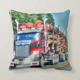 Truckers Logging Truck Lorry Heavy Transport Gift Throw Pillow