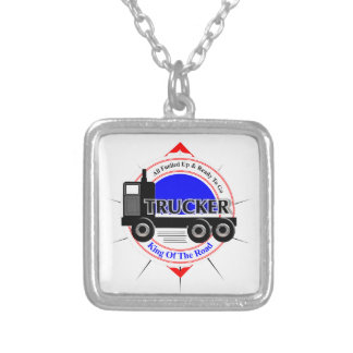 Truckers Novelty King Of The Road Graphic Silver Plated Necklace