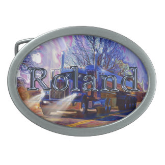 Truckers Tanker Gift for Roland Oval Belt Buckle