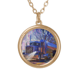 Truckers Tanker Lorry Heavy Transport Gift Gold Plated Necklace