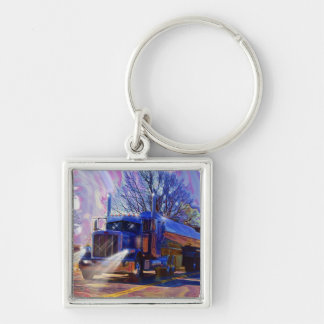 Truckers Tanker Lorry Heavy Transport Gift Silver-Colored Square Keychain