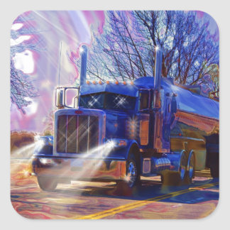 Truckers Tanker Lorry Heavy Transport Gift Square Sticker