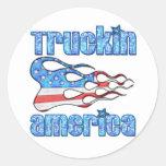 Truckin los E.E.U.U. Etiquetas Redondas