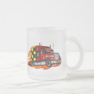 Trucking Down The Road Frosted Glass Coffee Mug