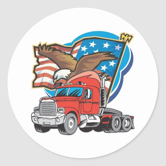 Trucking Eagle Classic Round Sticker