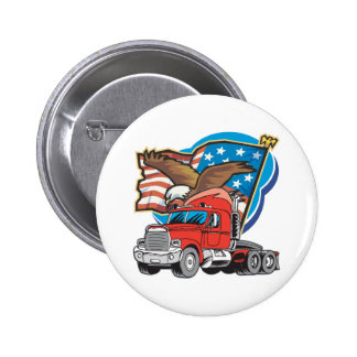 Trucking Eagle Pinback Button