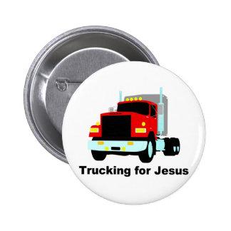 Trucking for Jesus 2 Inch Round Button