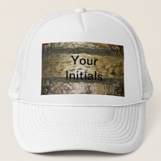 ,TRUCKING HAT ABSTRACT GOLD & WHTE