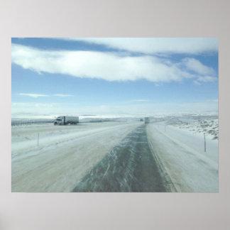 Trucking Interstate 80 Wyoming USA Poster