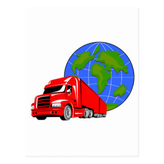 trucking lorry truck container van post card