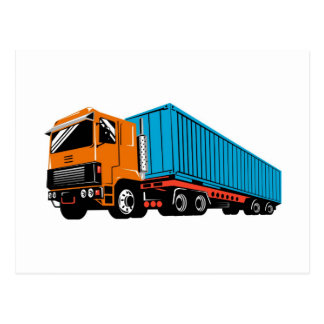 trucking truck lorry container truck postcard
