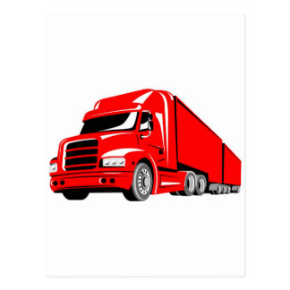 trucking truck lorry container truck transport postcard