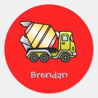 Truckmixer pesado pegatina redonda