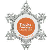 Trucks, Cowboys and Country Music Snowflake Pewter Christmas Ornament