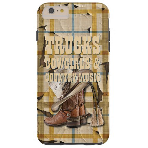 Trucks Cowgirls Country Music Plaid Tartan Pattern Tough iPhone 6 Plus Case