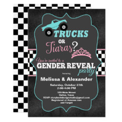 Trucks or Tiaras Gender Reveal Invitations