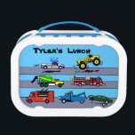 """Trucks Truck Lovers Personalized Boys Lunch Box<br><div class=""""desc"""">This fun customized lunch box is perfect for truck lovers. It has a design with cartoon trucks, including a tow truck, firetruck, pickup and monster truck, and food truck. You can change the background color to any you want. It says&quot;Tyler&#39;s Lunch.&quot; You can change the words in the template to...</div>"""