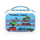Trucks Truck Lovers Personalized Boys Lunch Box<br><div class='desc'>This fun customized lunch box is perfect for truck lovers. It has a design with cartoon trucks, including a tow truck, firetruck, pickup and monster truck, and food truck. You can change the background color to any you want. It says&quot;Tyler&#39;s Lunch.&quot; You can change the words in the template to...</div>
