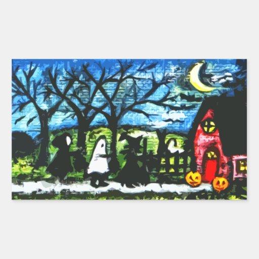 Truco de Halloween o pegatina del arte de la noche