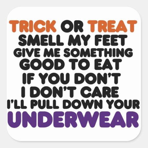 Truco de Halloween o poema divertido de la invitac Pegatinas Cuadradases Personalizadas