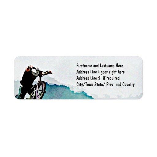 Truco de la bicicleta del estilo libre BMX Etiqueta De Remite
