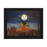 Truco de la luna de Halloween o gato negro del dia Lona Envuelta Para Galerías