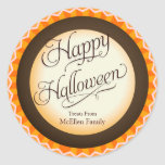 Truco del feliz Halloween o etiqueta de la invitac