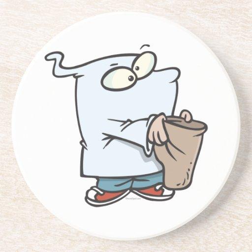 truco del traje del fantasma o dibujo animado que  posavasos para bebidas