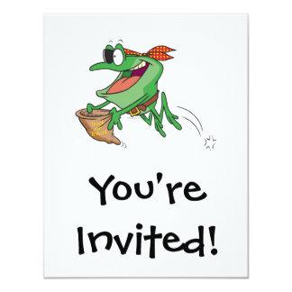 truco divertido o rana del froggy del pirata que invitación 10,8 x 13,9 cm