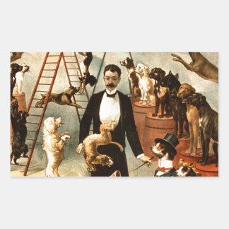 Truco entrenado vintage Dogs1899 del acto del Rectangular Pegatina