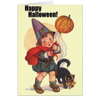 Truco lindo o Treater del feliz Halloween del vint Tarjeton