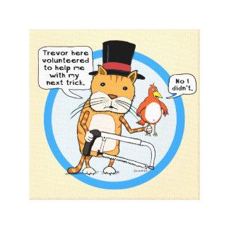 Truco mágico divertido del gato y del pájaro impresión en lienzo