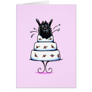 Truco negro de la torta de Pomeranian Tarjeta De Felicitación