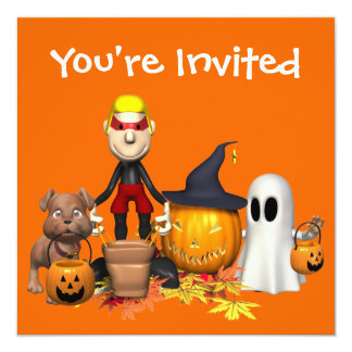 """Truco o el tratar de los amigos de Halloween Invitación 5.25"""" X 5.25"""""""