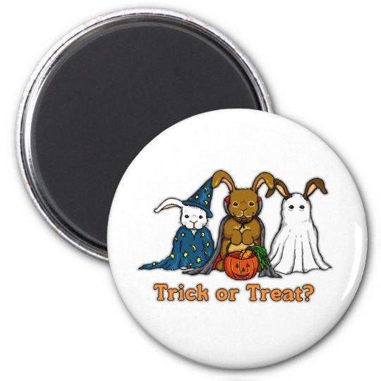 Truco o el tratar de los conejos de Halloween Imán Redondo 5 Cm