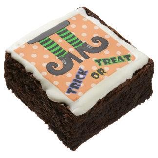 Truco o invitación anaranjado: Brownie de los pies