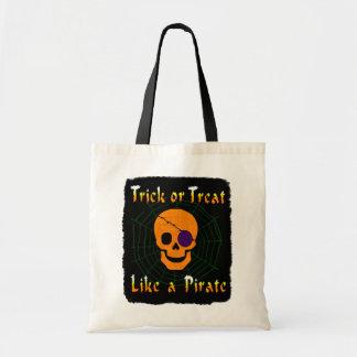 Truco o invitación como un pirata bolsa tela barata