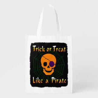 Truco o invitación como un pirata bolsas reutilizables