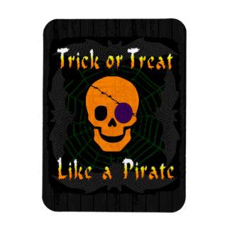 Truco o invitación como un pirata imán foto rectangular