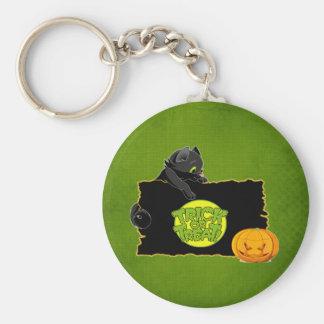 Truco o invitación de Halloween Llavero Redondo Tipo Pin