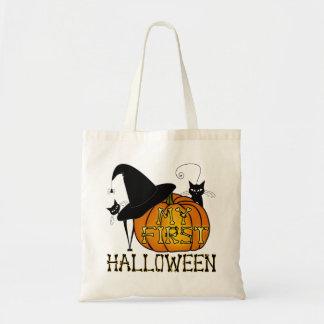 """¡Truco-O-Invitación de """"mi primer Halloween""""! Bolsa Tela Barata"""