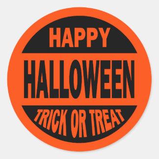Truco o invitación del feliz Halloween Pegatina Redonda