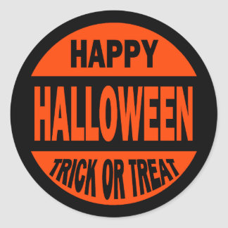Truco o invitación del feliz Halloween Etiquetas Redondas