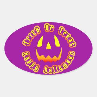Truco o invitación del feliz Halloween… Pegatina Ovalada