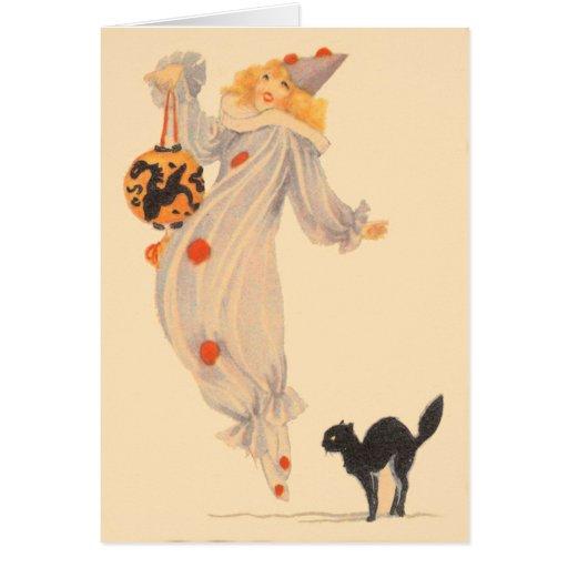 Truco o invitación del traje del gato negro del pa tarjeta de felicitación