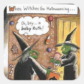 Truco o invitación divertido de las brujas de calcomanías cuadradas