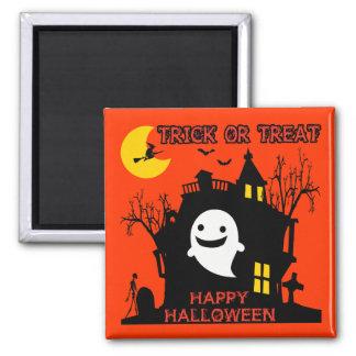 Truco o invitación, feliz Halloween Imán Cuadrado