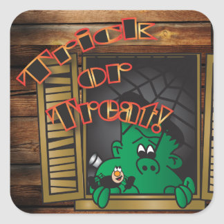 Truco o invitación Halloween verde Frankenstien Pegatina Cuadrada